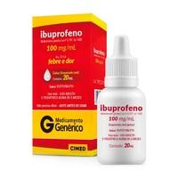 Ibuprofeno Gotas Cimed 100mg/mL, caixa com 1 frasco gotejador com 20mL de suspensão de uso oral