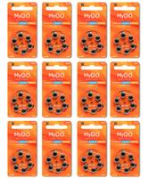 Kit para Aparelhos Auditivos Direito de Ouvir 12 cartelas de pilhas com 6 unidades cada, tamanho A13 + refil, sílica gel desumidificador, 2 unidades com 100g cada + 2 cartelas com 8 filtros cada