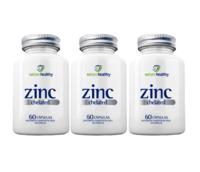 Zinc Chelated Nature Healthy 7mg, frasco, 3 unidades com 60 cápsulas cada