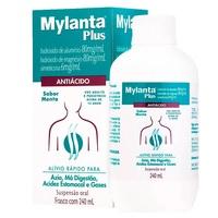 Mylanta Plus 80mg/mL + 80mg/mL + 6mg/mL, caixa com 1 frasco com 240mL de suspensão de uso oral, menta