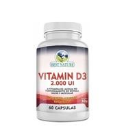 Vitamina D3 Best Nature 2000UI, frasco com 60 cápsulas