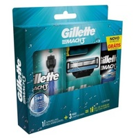 Aparelho de Barbear Gillette Mach3 - acqua grip com 1 unidade + carga com 3 unidades + gel de barbear Complete Defense com 72mL, grátis