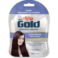 Creme Tratamento de Choque Niely Gold Extra Brilho sachê, 30g