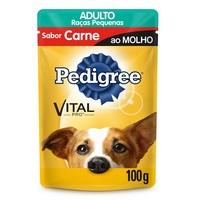 Ração para Cães Pedigree Vital Pro Adulto Raças Pequenas Carne ao Molho, 100g