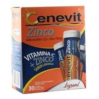 Cenevit Zinco 1g + 10mg, caixa com 30 comprimidos efervescentes