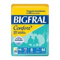 Fralda Geriátrica Bigfral Confort M, pacote com 8 unidades