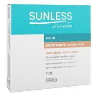 Pó Compacto Sunless Efeito Matte FPS 50, bege médio