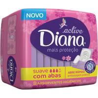 Absorvente Active Diana Mais Proteção - suave, com abas, 8 unidades