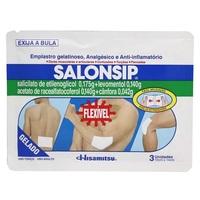 Salonsip 0,042mg/g + 0,175mg/g + 0,14mg/g + 0,14mg/g, caixa com 3 emplastros