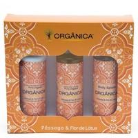 Kit Orgânica Pêssego e Flor-de-lótus hidratante + sabonete, líquido + body splash com 100mL cada