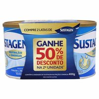 lata, baunilha, 400g + 50% de desconto na 2ª unidade
