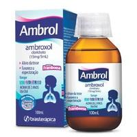 Ambrol 15mg/5mL, caixa com 1 frasco com 100mL de xarope infantil + 1 copo medidor