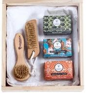 Kit Orgânica Puro Vegetal Spa abacate e oliva + chá branco e gengibre + pêssego e flor de lótus, sabonete barra com 90g cada + escova para unhas + escova facial