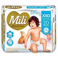 Fralda Mili Love&Care XXG, pacote com 20 unidades