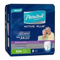 Roupa Íntima Plenitud Active Plus P/M, pacote com 8 unidades