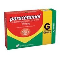 Paracetamol Cimed 750mg, caixa com 20 comprimidos