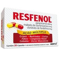 Resfenol 400mg + 4mg + 4mg, caixa com 20 cápsulas gelatinosas duras