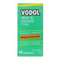 Vodol 20mg/g, caixa com 1 frasco com 30g de pó de uso dermatológico