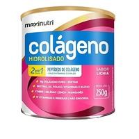 Colágeno Hidrolisado 2 em 1 Maxinutri frasco com 250g de pó para solução de uso oral, sabor lichia