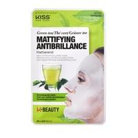 Máscara Facial de Algodão Kiss NY K-Beauty chá verde com 1 unidade