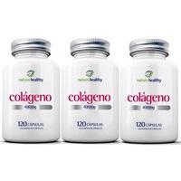 Colágeno Hidrolisado Nature Healthy 3 frascos com 120 cápsulas cada