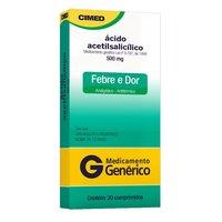 Ácido Acetilsalicílico Cimed 500mg, caixa com 20 comprimidos
