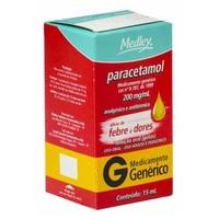 Paracetamol Gotas Medley 200mg/mL, caixa com 1 frasco gotejador com 15mL de solução de uso oral