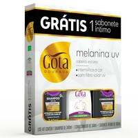Kit Gota Dourada Melanina UV shampoo com 340mL + condicionador com 340mL + sabonete íntimo fresh, líquido com 100mL grátis