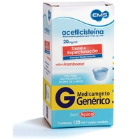 Acetilcisteína EMS 20mg/mL, caixa com 1 frasco com 120mL de xarope de uso pediátrico + copo medidor