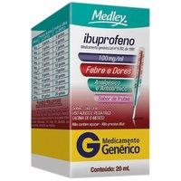 Ibuprofeno Gotas Medley 100mg/mL, caixa contendo 1 frasco gotejador com 20mL de suspensão de uso oral