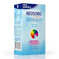 Neosoro Infantil 9mg/mL + 0.1mg/mL, caixa com 1 frasco com 30mL de solução de solução de uso nasal