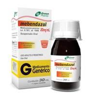 Mebendazol Greenpharma 20mg/mL, caixa com 1 frasco com 30mL de suspensão de uso oral + copo medidor