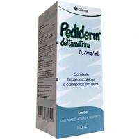 Pediderm 0,2mg/mL, caixa com 1 frasco com 100mL de loção de uso dermatológico