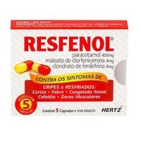 Resfenol 400mg + 4mg + 4mg, caixa com 5 cápsulas gelatinosas duras