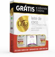 Kit Gota Dourada Leite de Coco shampoo com 340mL + condicionador com 340mL + sabonete íntimo fresh, líquido com 100mL grátis
