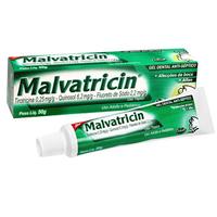 Malvatricin Gel Dental 0,25mg + 6,2mg + 2,2mg, caixa com 1 bisnaga com 50g de gel de uso bucal