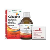 Cobapetit 0,8mg/mL + 4mg/g, caixa com 1 frasco com 100mL de xarope + sachês com 5g + copo medidor