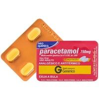 Paracetamol Neo Química 750mg, blíster com 4 comprimidos