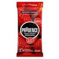 Preservativo Prudence Cores e Sabores morango com 12 unidades