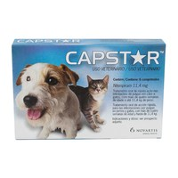 Antipulgas Capstar 11,4mg, para cães e gatos até 11,4kg com 6 comprimidos