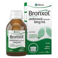 Bronxol 6mg/mL, caixa com 1 frasco com 120mL de xarope