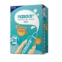 Nasoar 0,9%, caixa com 1 frasco de 240mL de solução de uso nasal + 30 envelopes com 2,160g de granulado para solução de uso nasal