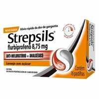 Strepsils 8,75mg, caixa com 16 pastilhas, laranja