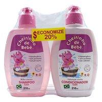 Kit Cheirinho de Bebê rosa, shampoo, 210mL + condicionador, 210mL