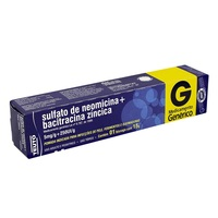 Bacitracina Zíncica + Sulfato de Neomicina Teuto 5mg/g + 250UI/g, caixa com 1 bisnaga com 15g de pomada de uso dermatológico
