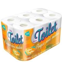 Papel Higiênico Toilet folha dupla, 12 unidades com 30m cada