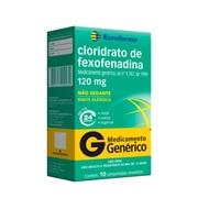 Cloridrato de Fexofenadina Eurofarma 120mg, caixa com 10 comprimidos revestidos