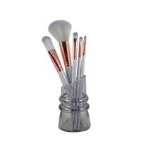 Kit Pincéis de Maquiagem Jacki Design com suporte, 5 itens, prata