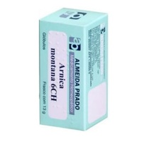 Arnica montana 6CH Homeopatia Almeida Prado frasco com 13g de glóbulos