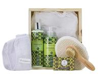 Kit para Banho Orgânica Meu Momento abacate e oliva, hidratante + sabonete líquido com 250mL cada + sabonete, barra com 90g + esponja de sisal + toalha + escova de cerda
